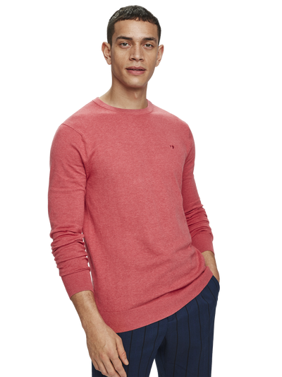 Scotch & Soda Basic Classic Cotton Cashmere Pullover in Rosewood Melange
