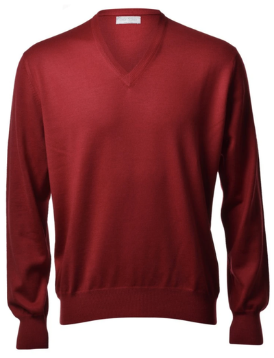 Gran Sasso Men's Extrafine Merino V-Neck Knit in Blood Red