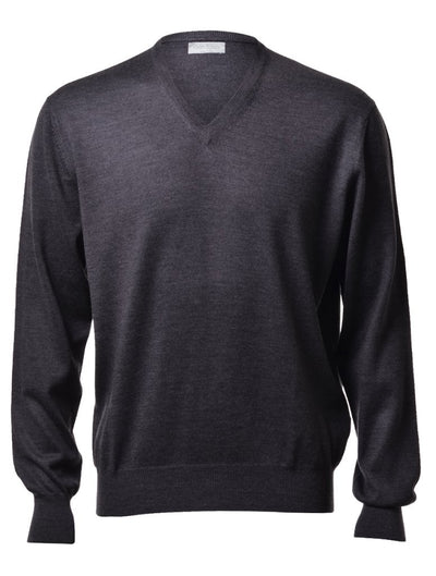 Gran Sasso Men's Extrafine Merino V-Neck Knit in Charcoal