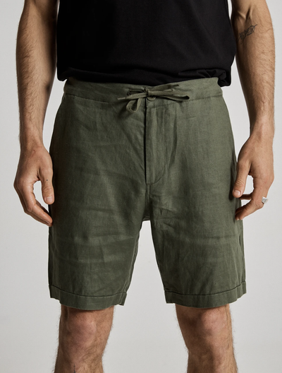 Mr Simple Tanner Linen Shorts in Fatigue | Buster McGee Daylesford