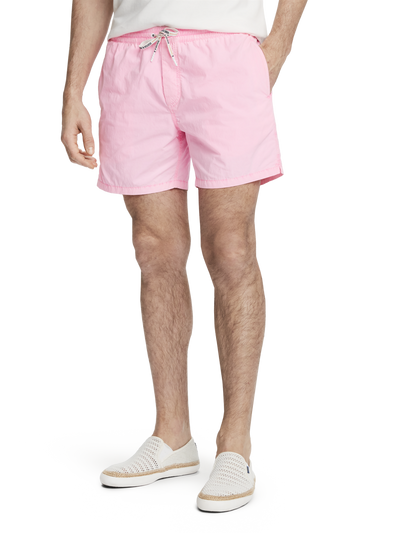 Scotch & Soda Bright Garment-Dyed Swim Shorts in Hot Pink