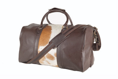 Beckwith Duffle with Brown/White Cow Hide Panel