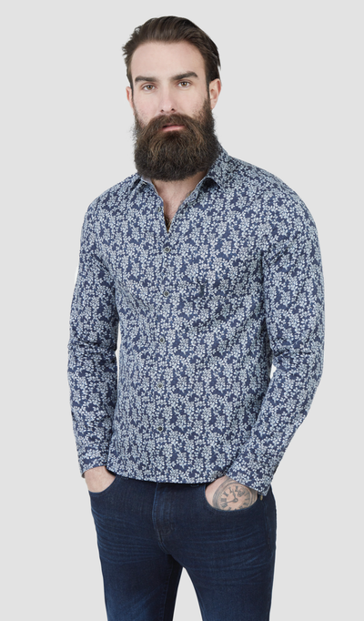 Pearly King Sprint Leaf Print Long Sleeve Shirt in Blue