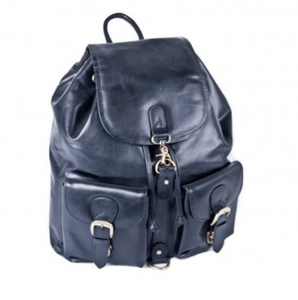 Oran Leather Double Pocket Leather Backpack in Black