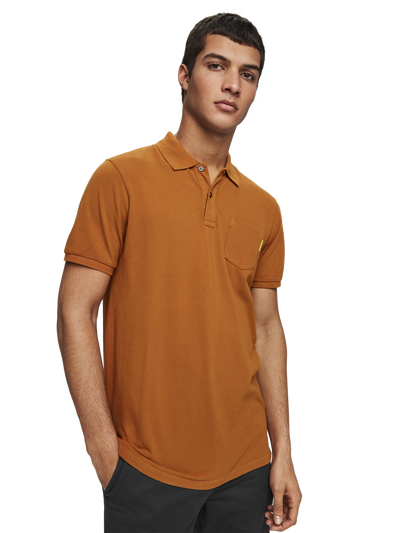 Scotch & Soda Basic Chest Pocket Polo in Down Town Brown