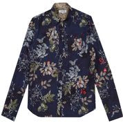 Pearly King Quartz Leaf Print  L/S Shirt in Navy