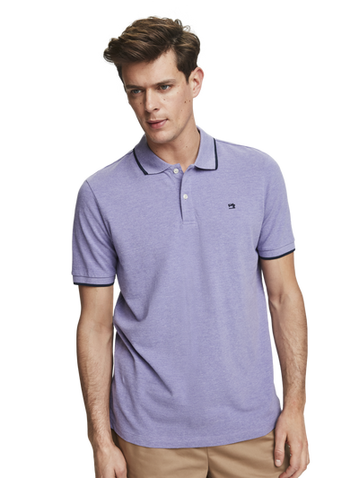 Scotch & Soda Melange Cotton Pique Polo in Electric Purple