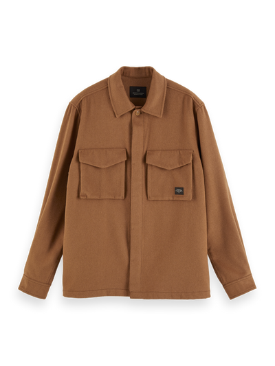 Scotch & Soda Brushed Wool Blend Overshirt in Camel | Buster McGee Daylesford