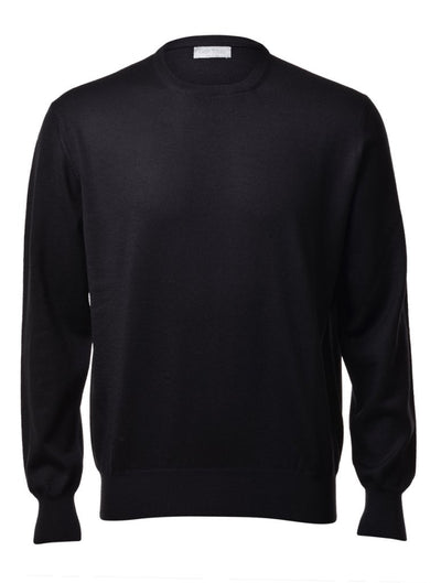 Gran Sasso Men's Extrafine Merino Crew Neck Knit in Black