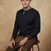 Scotch & Soda Reversible Crewneck Pullover with Dropped Shoulder Styling
