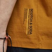 Scotch & Soda Jersey Crewneck Tee with Small Logo Artwork in Nutmeg Front Label Detail