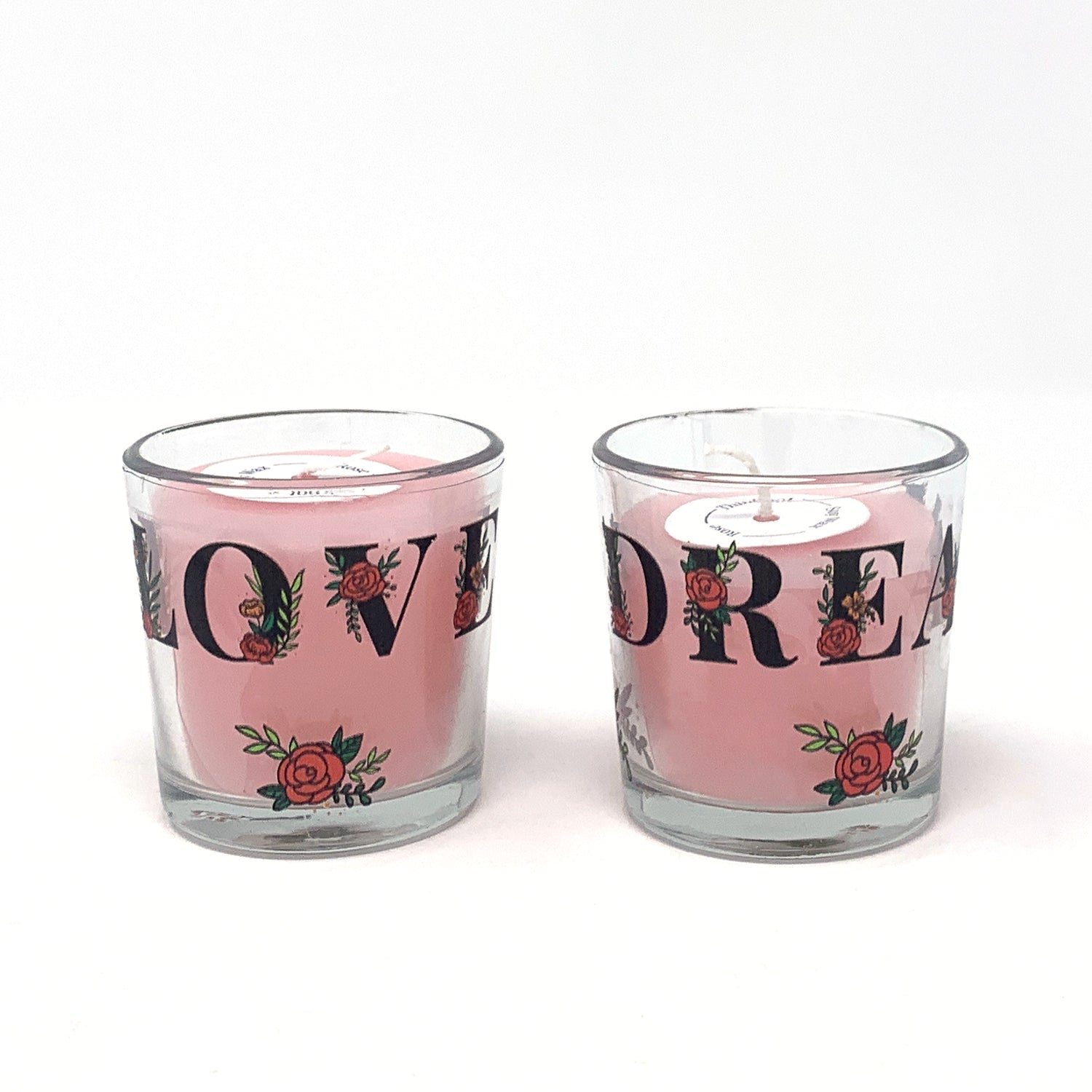 Rose Petals Soy Wax Votive Glass Candles (Set of 2)