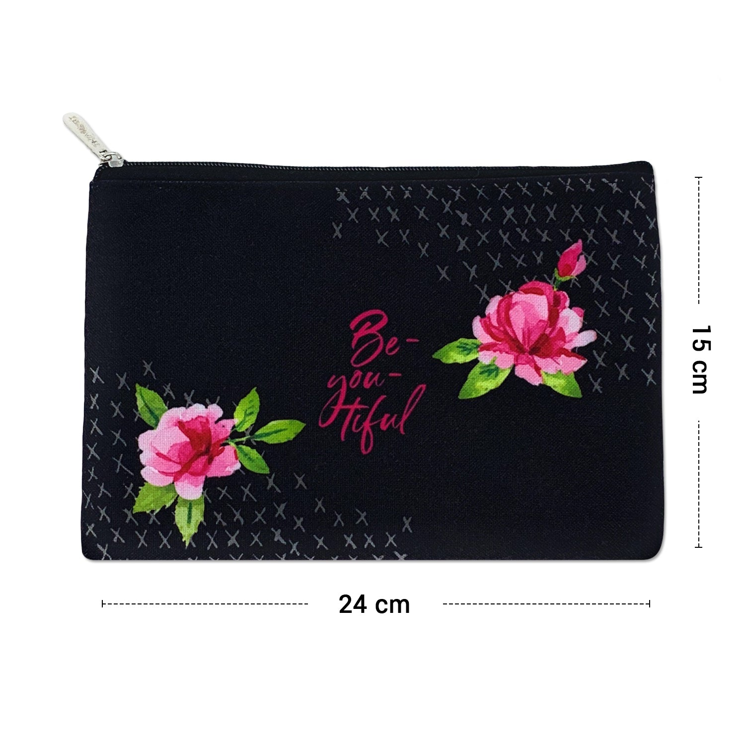 Beyoutiful Black Canvas Large Pouch