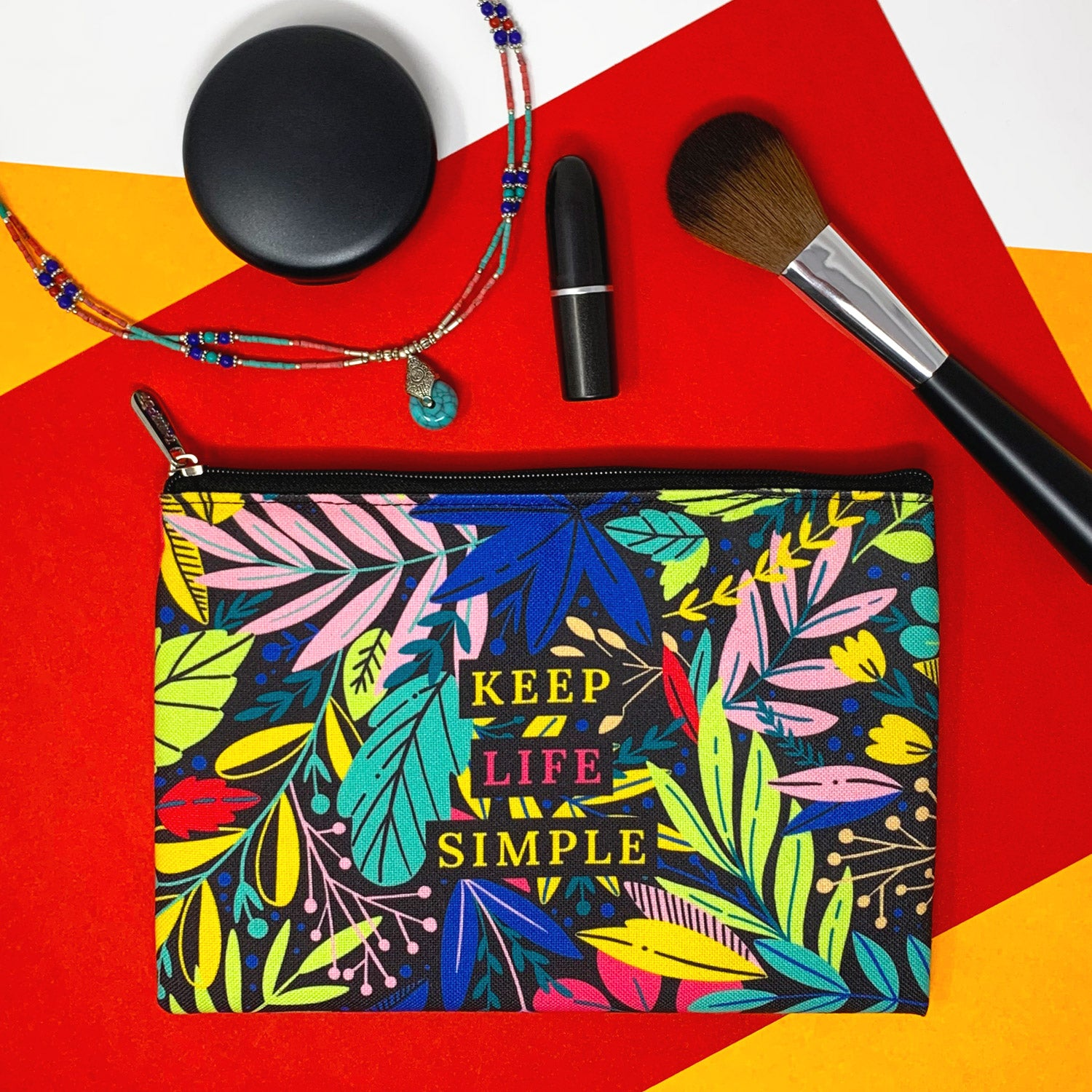 Keep Life Simple Canvas Large Pouch