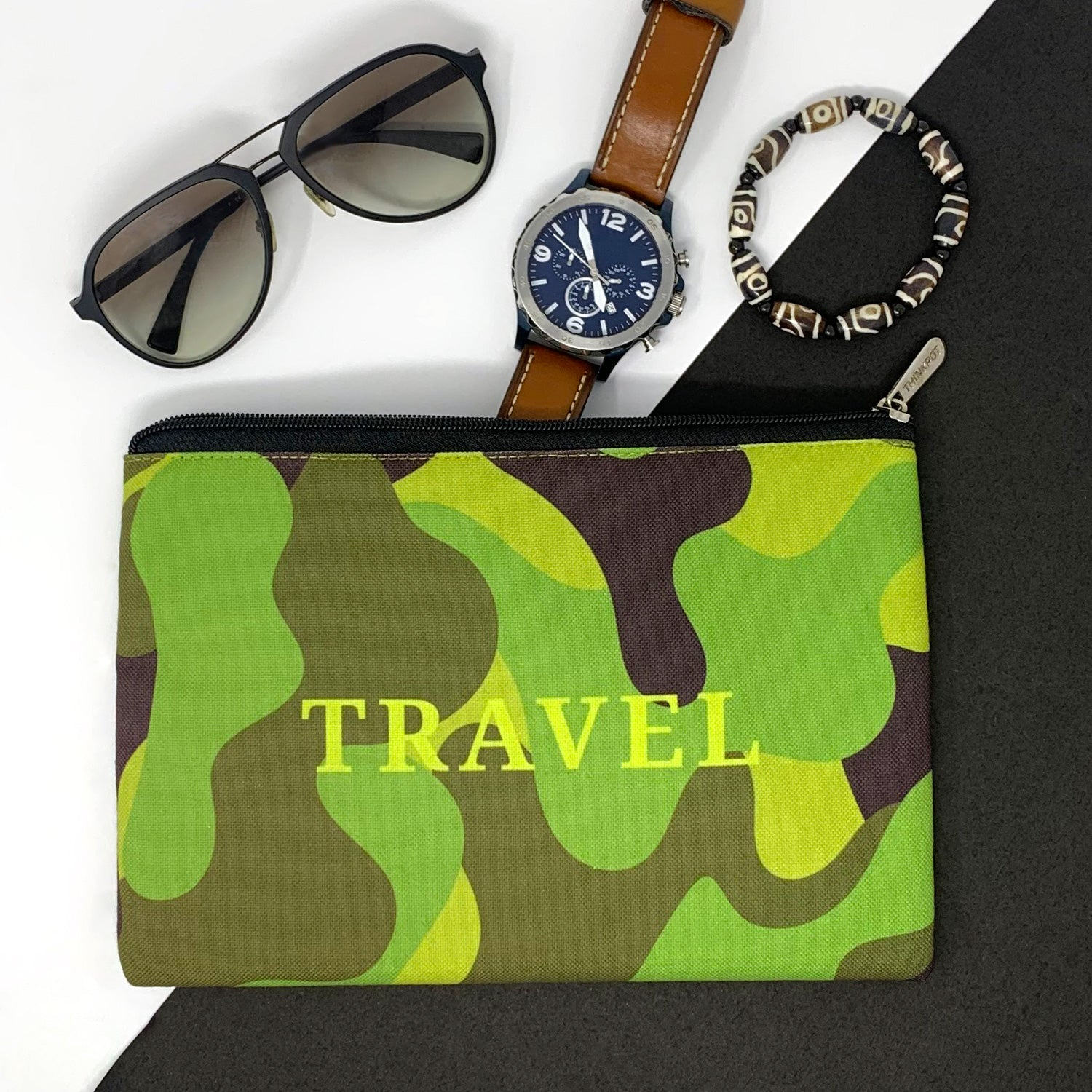 Travel Camo Canvas Large Pouch