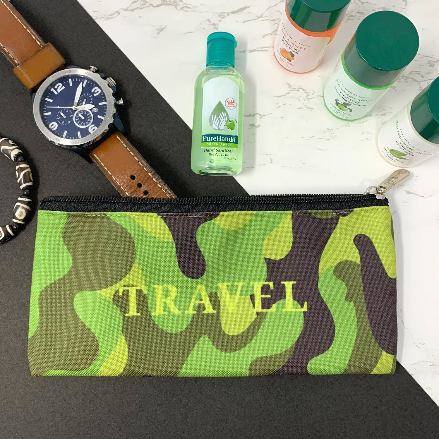Travel Camo Canvas Pencil Pouch