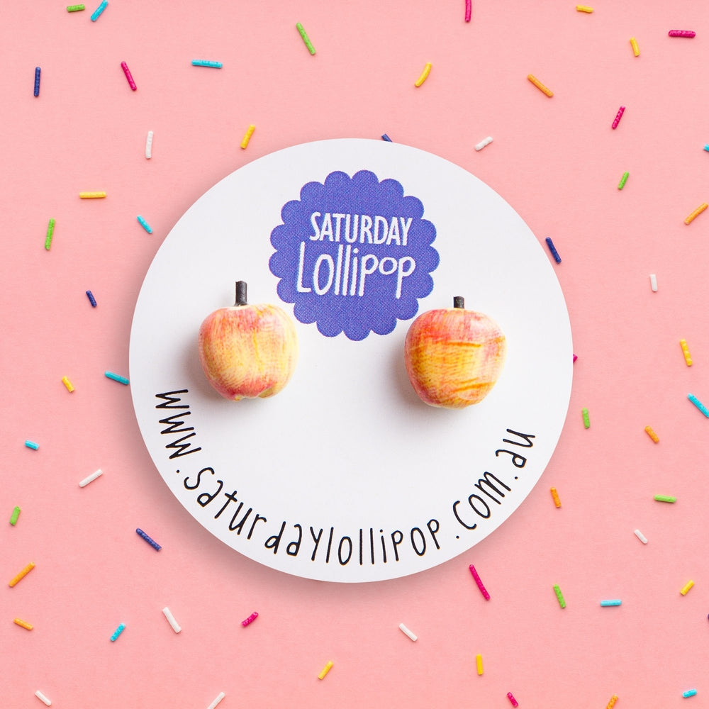 Apple Stud Earrings Jewellery Saturday Lollipop