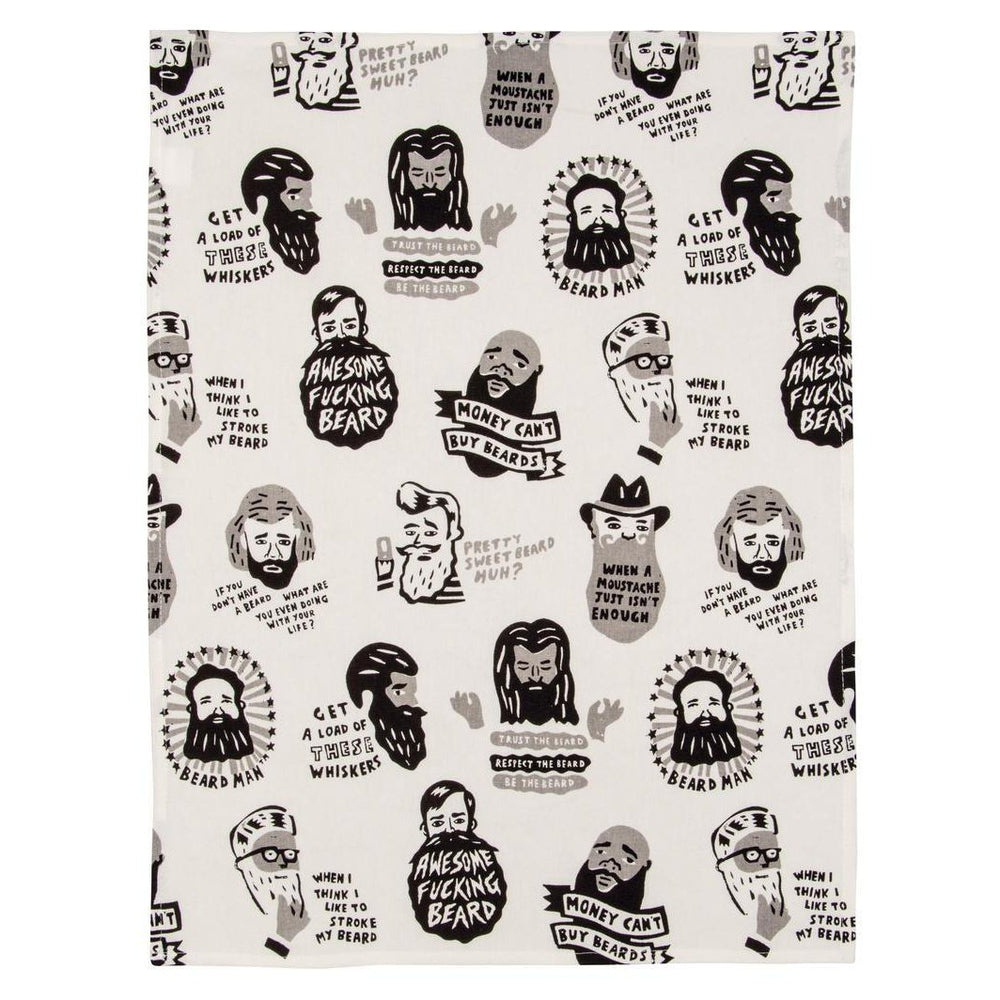 Awesome Beard Tea Towel Tea Towel Blue Q