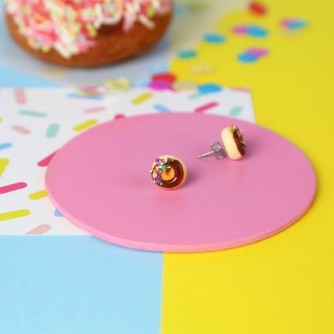 Chocolate Donut Stud Earrings Jewellery Saturday Lollipop