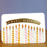 Gold Candles Birthday Card Greeting Card Laura Skillbeck
