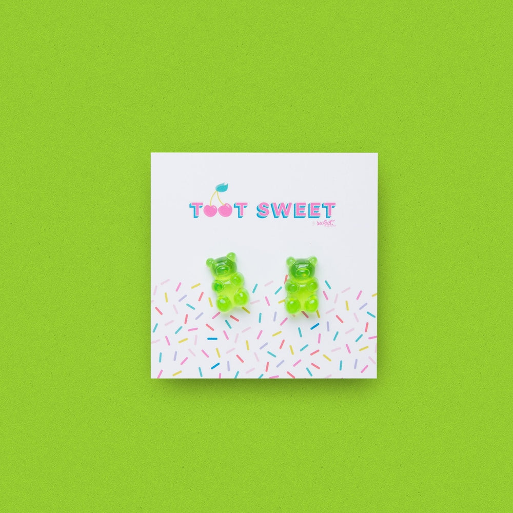 Gummy Bear Stud Earrings Jewellery Sweet Magazine Green