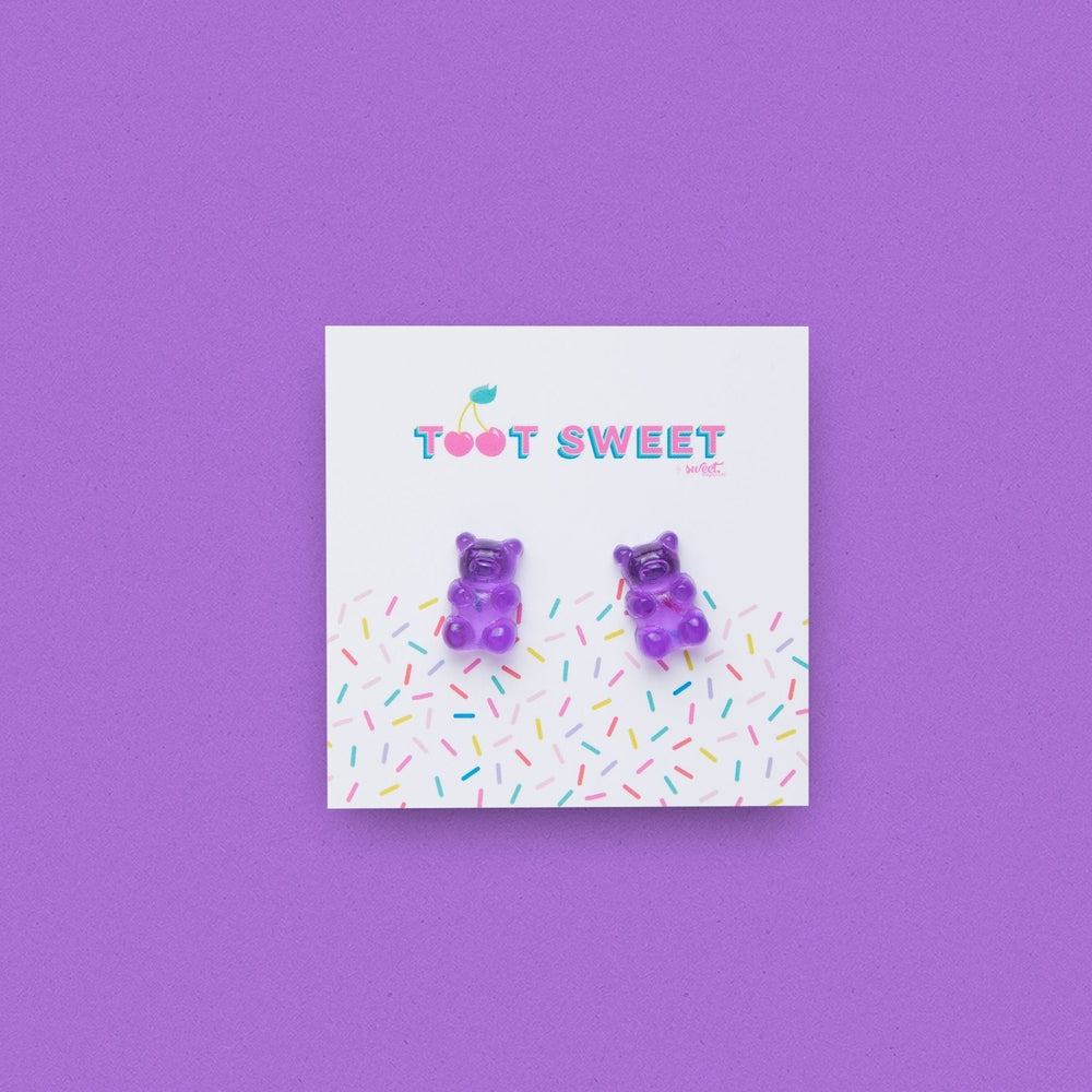 Gummy Bear Stud Earrings Jewellery Sweet Magazine Purple