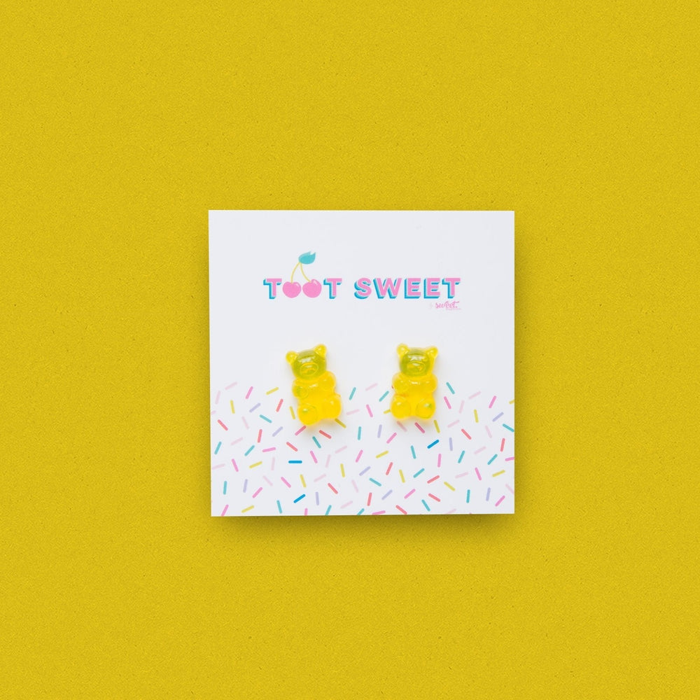 Gummy Bear Stud Earrings Jewellery Sweet Magazine Yellow