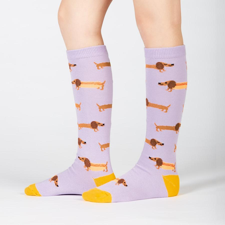 Hot Dog Sausage Dog Socks Socks Sock It To Me Youth (Shoe 8-13)