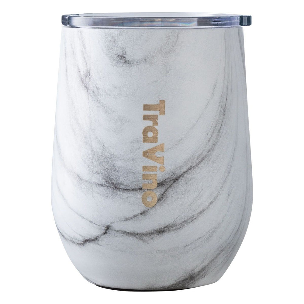 Insulated Travel Stemless Wine Glass Kitchen TraVino White Marble