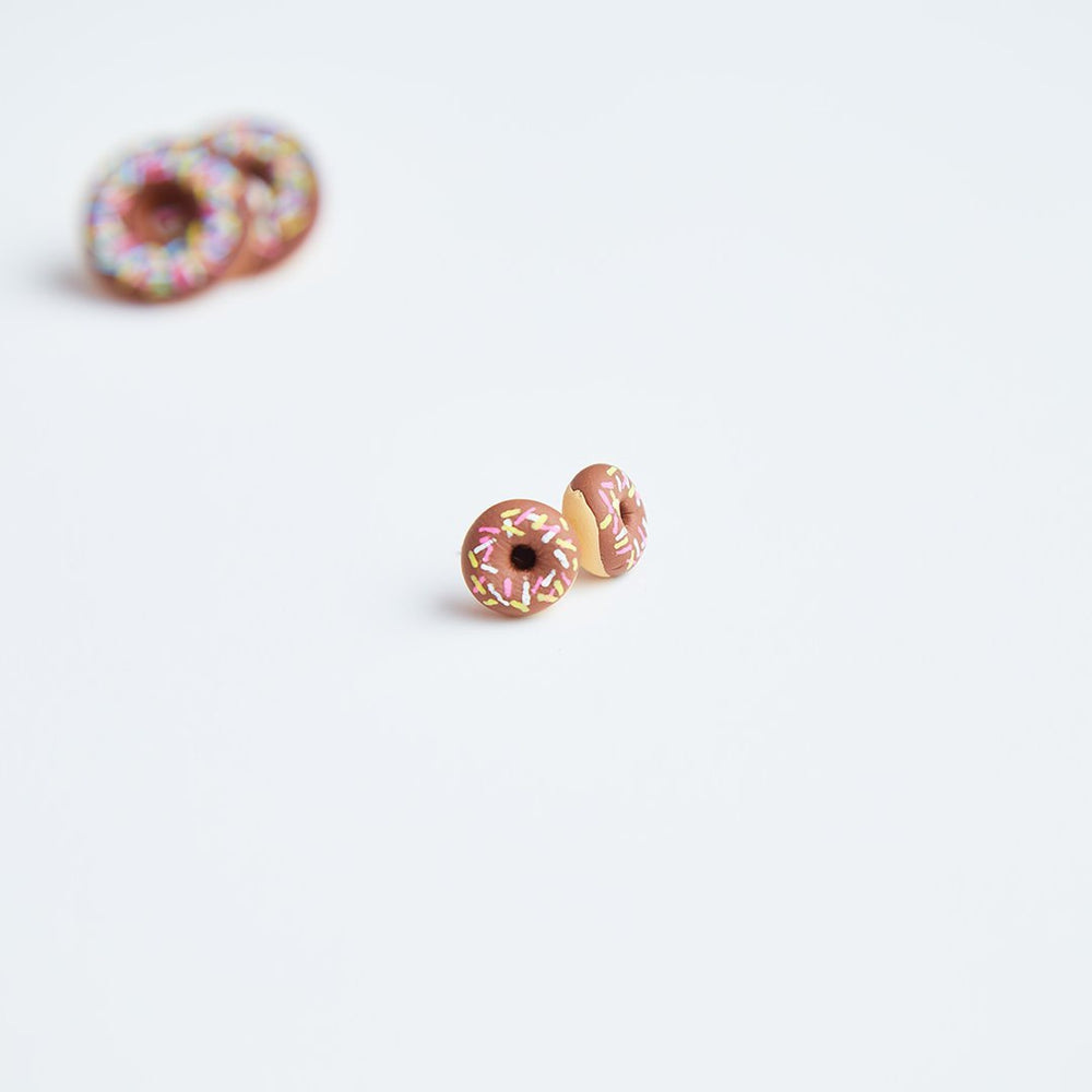Mini Chocolate Stylised Donut Earrings Jewellery Sweet Magazine