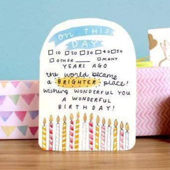 On This Day Birthday Card Greeting Card Laura Skillbeck