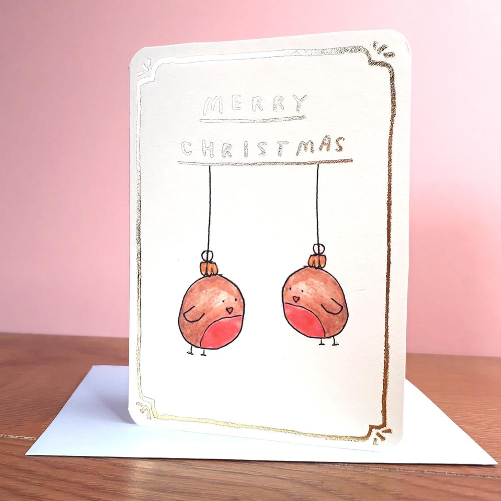 Robin Baubles Christmas Card Greeting Card Laura Skillbeck