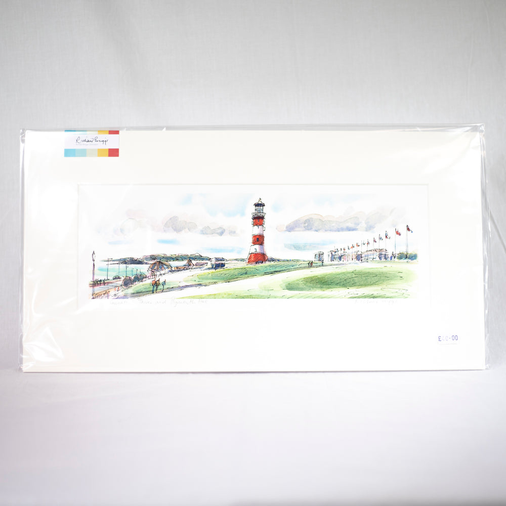 Smeaton's Tower and the Hoe, Fine Art Print by Richard Briggs