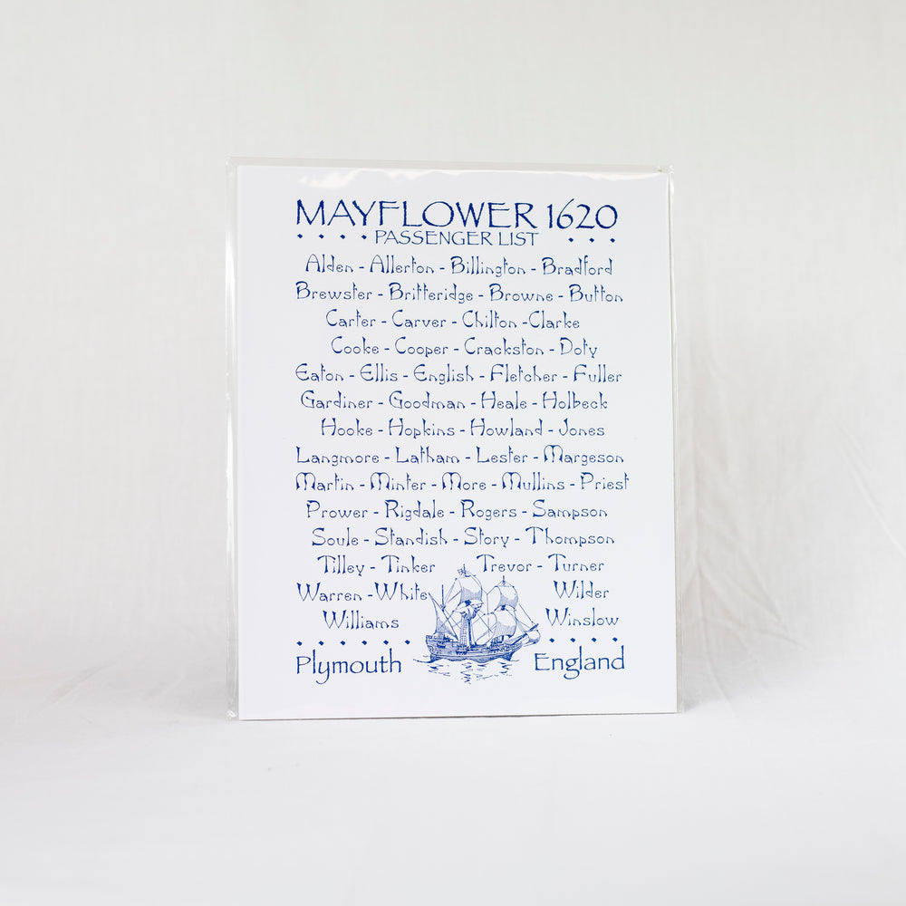 Mayflower Passenger List Print