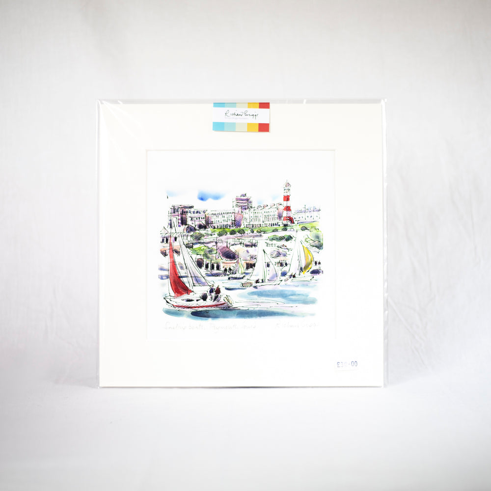 Sailing in Plymouth Sound - Fine Art Print (22 x 22 cm)
