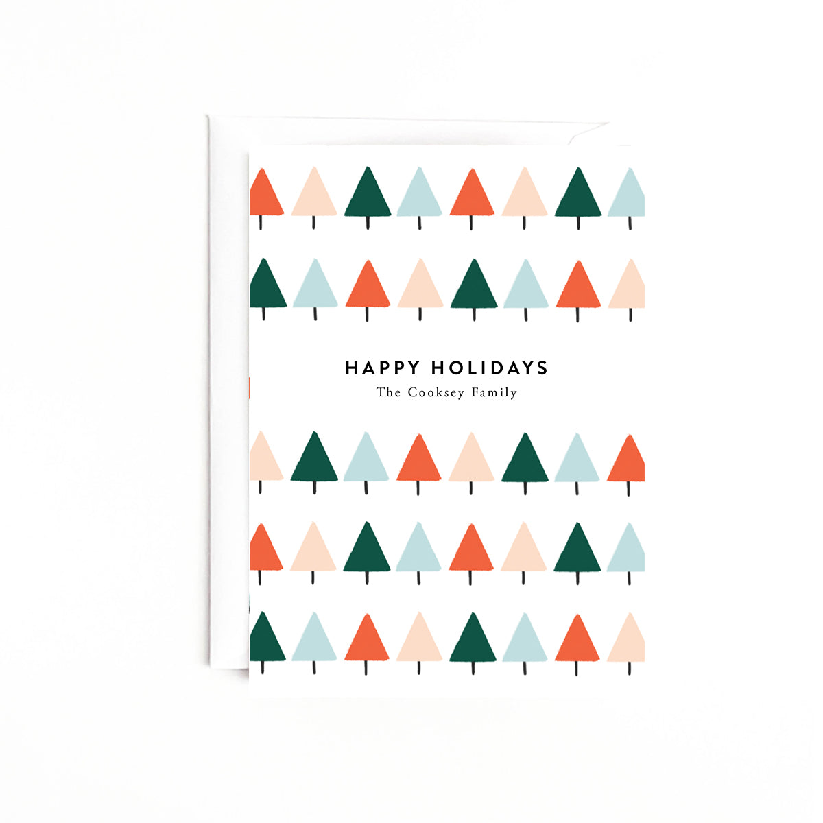 Geo Trees Personalized Holiday Card