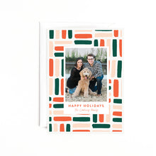 Load image into Gallery viewer, Patterned Personalized Holiday Photo Card