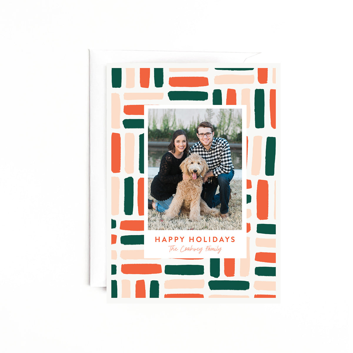 Patterned Personalized Holiday Photo Card