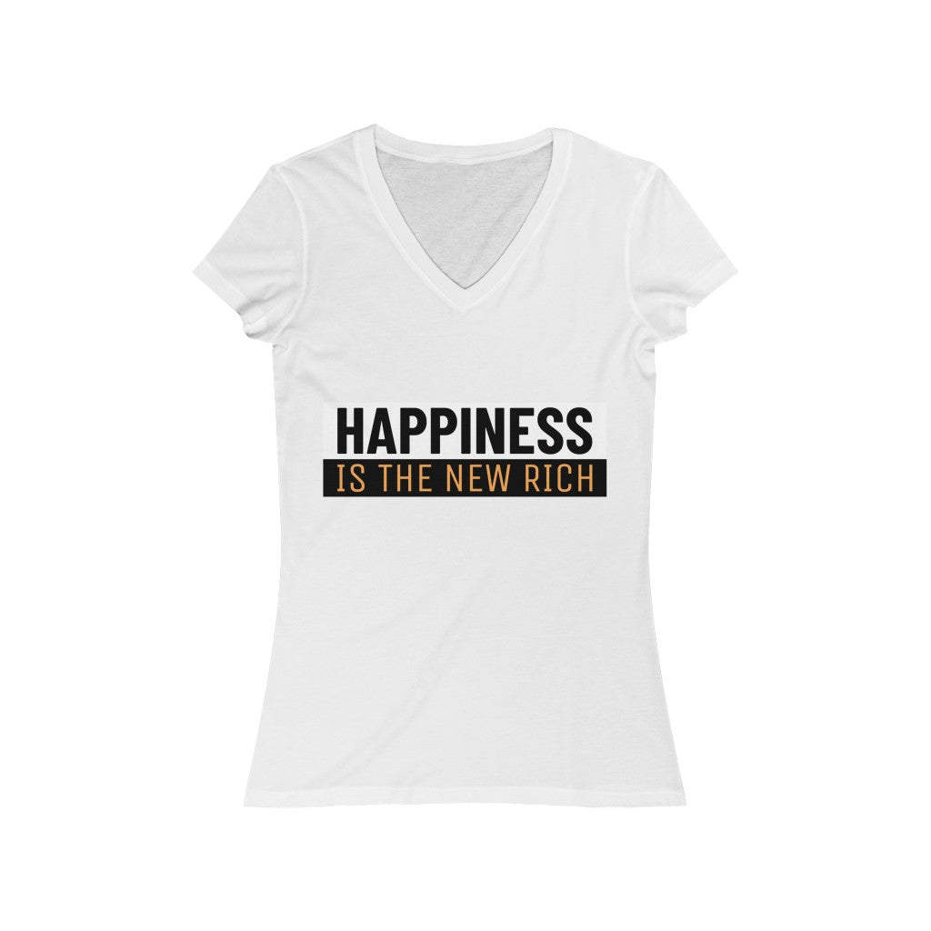 Happiness Is The New Rich Women's T in V-Neck