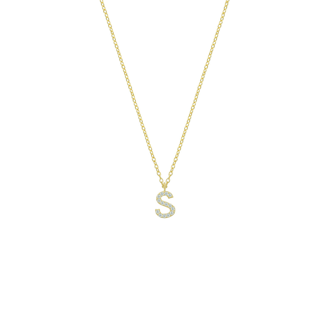 Personalized pave' letter necklace
