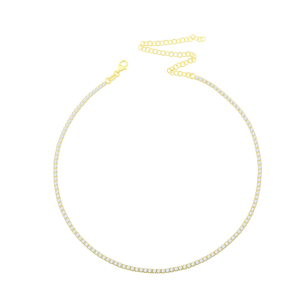 Tennis chocker white stones