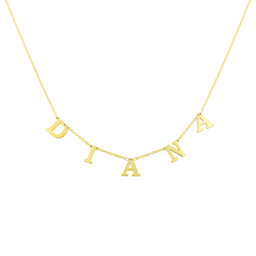 Personalized name necklace plain capital letters