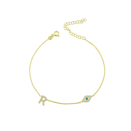 Personalized anklet with evil eye and letter