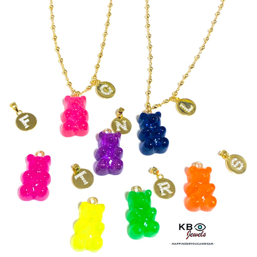 Gummy bear initial necklace