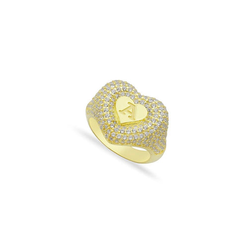 Personalized heart chevalier letter ring