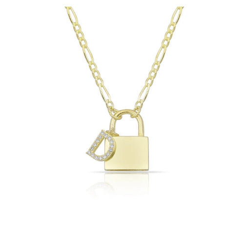Personalized lock letter charm necklace