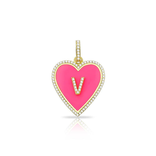 Personalized giant enamel heart necklace with letter