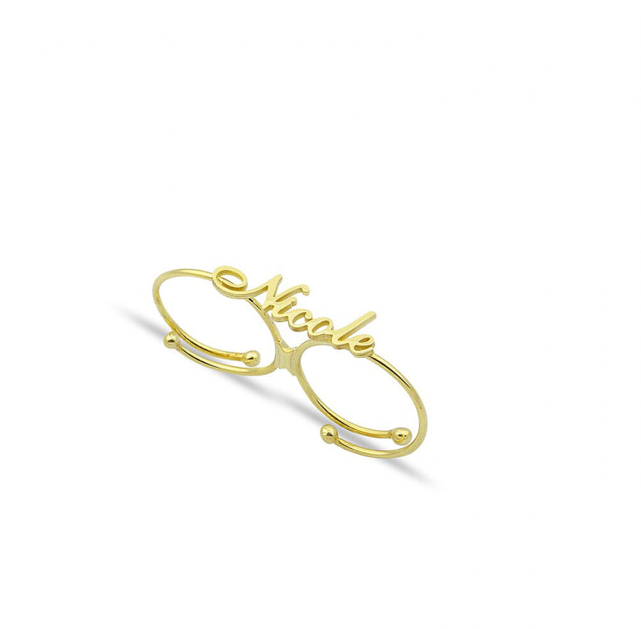 Personalized name double ring