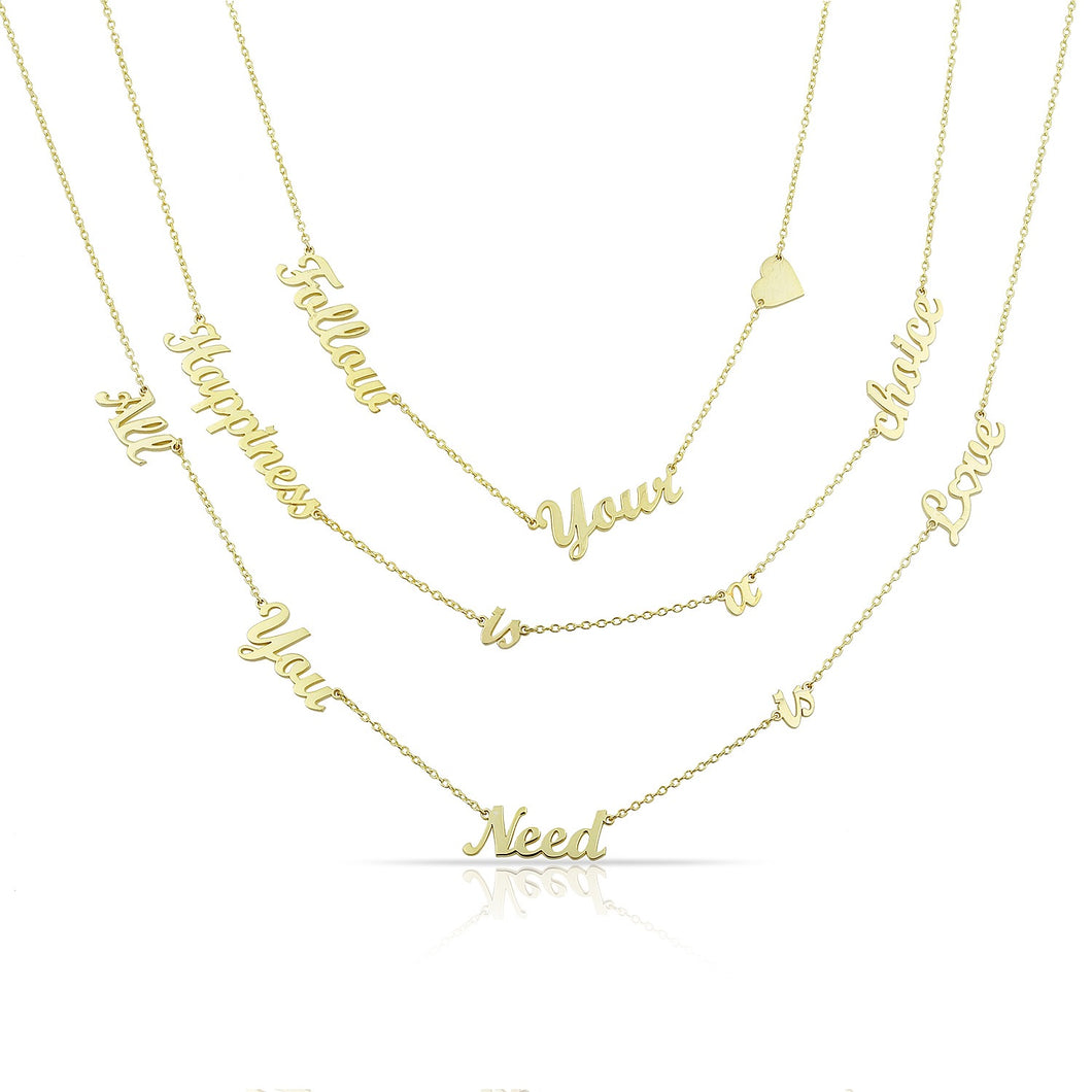 Personalized sentence necklace