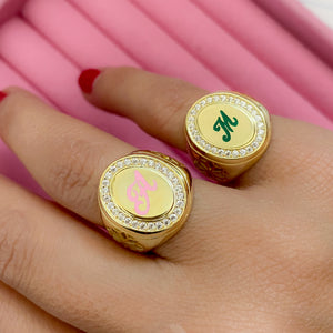 Personalized royal chevalier letter ring
